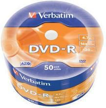 Оптический диск DVD-R VERBATIM 4.7Гб 16x, 50шт., 43788, cake box