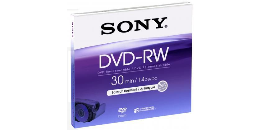 Оптический диск DVD-RW SONY 1.4Гб 1шт., DMW-30AJ, slim case, scratch proof
