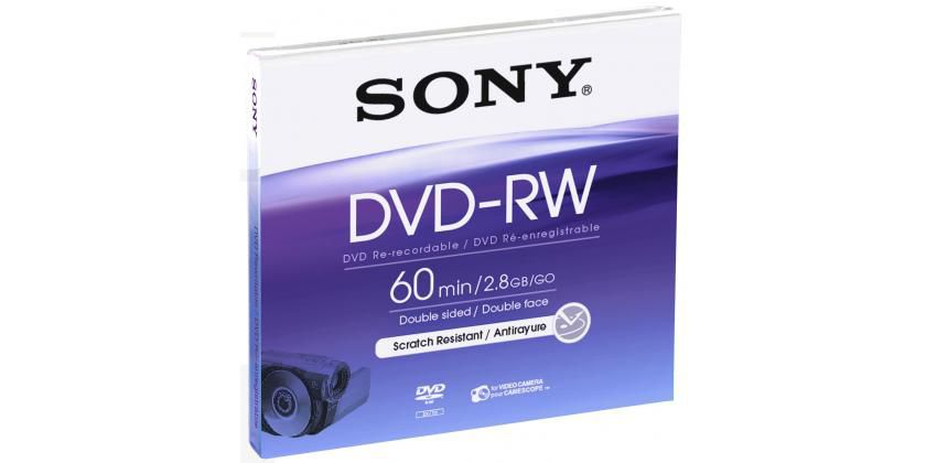 Оптический диск DVD-RW SONY 2.8Гб 1шт., DMW-60AJ, slim case, scratch proof