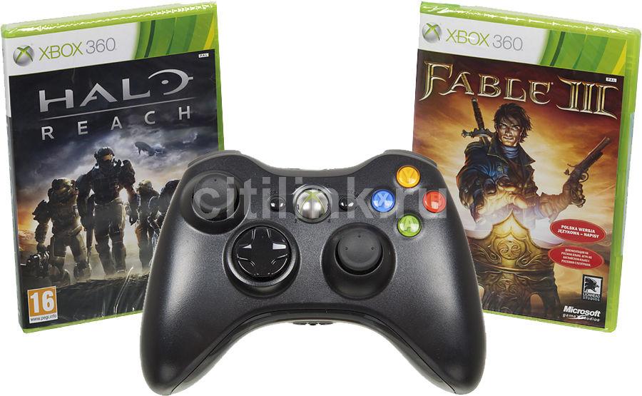 Беспроводной контроллер MICROSOFT Xbox 360, черный [hw_wrls fbl3+mreach]