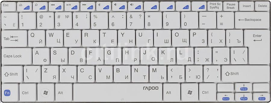 Клавиатура RAPOO E6100,  bluetooth, беспроводная, белый [11900]