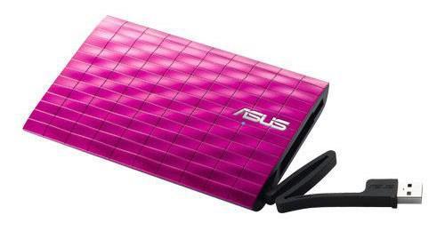 Внешний жесткий диск ASUS KR, 1Тб, розовый [90-xb1p00hd00070-]