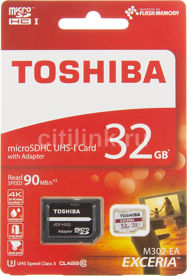 Карта памяти microSDHC UHS-I U3 TOSHIBA M302 32 ГБ, 90 МБ/с, Class 10, THN-M302R0320EA,  1 шт., переходник SD