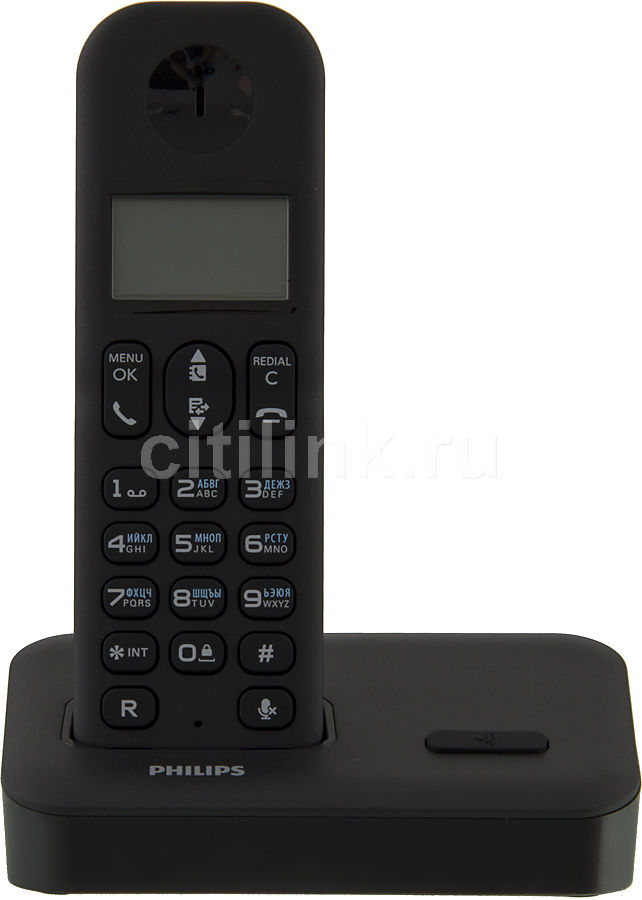 Радиотелефон PHILIPS D1501B/51,  черный