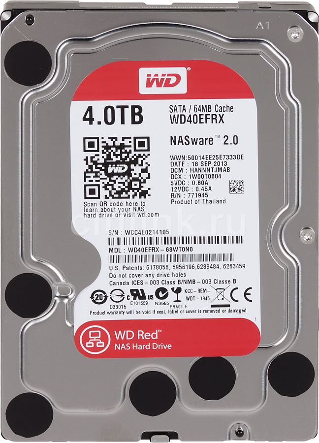 Жесткий диск WD Red WD40EFRX,  4Тб,  HDD,  SATA III,  3.5""