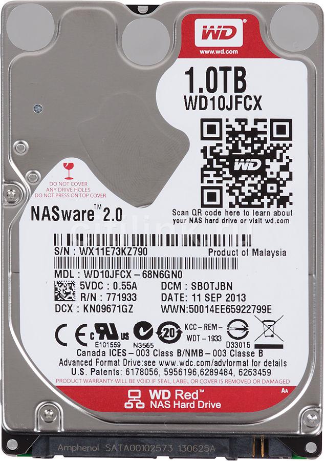 "Жесткий диск WD Red WD10JFCX,  1Тб,  HDD,  SATA III,  2.5"""