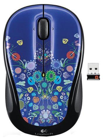 Мышь LOGITECH M325 nature jewelry оптическая беспроводная USB, синий и черный [910-003024]
