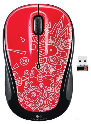Мышь LOGITECH M325 topography оптическая беспроводная USB, красный и черный [910-003029]