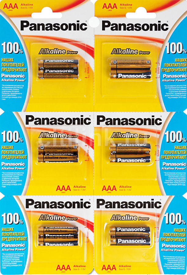 Батарея PANASONIC Alkaline Power LR03APB/12BP LR03,  12 шт. AAA