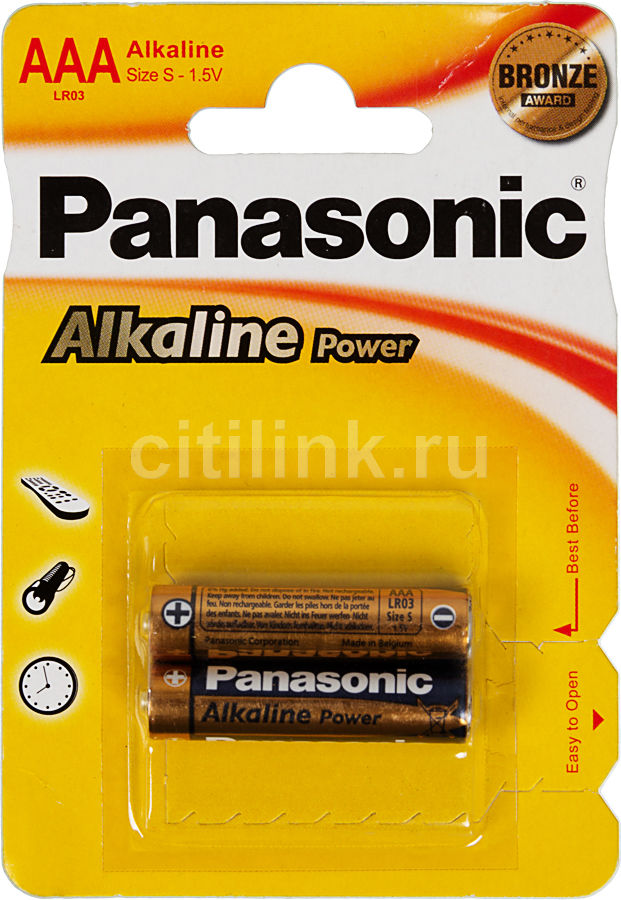 Батарея PANASONIC Alkaline Power LR03APB/2BP LR03,  2 шт. AAA