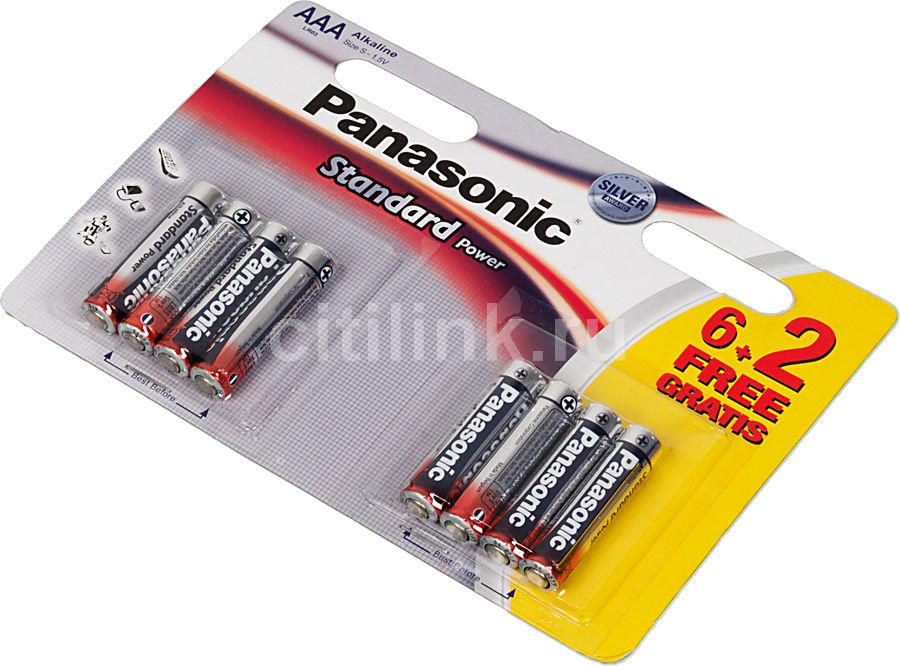 Батарея PANASONIC Standar Power Silver LR03,  8 шт. AAA