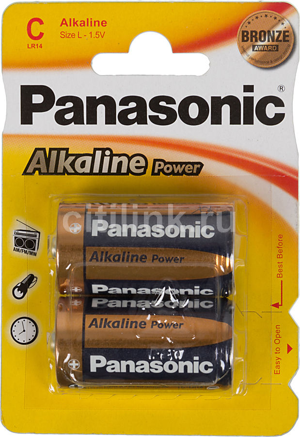 Батарея PANASONIC Alkaline Power LR14APB/2BP LR14,  2 шт. C