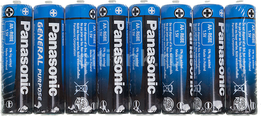 Батарея PANASONIC General Purpose R6BER/8P R6,  8 шт. AA
