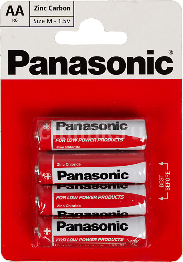 Батарея PANASONIC Red Zinc R6,  4 шт. AA