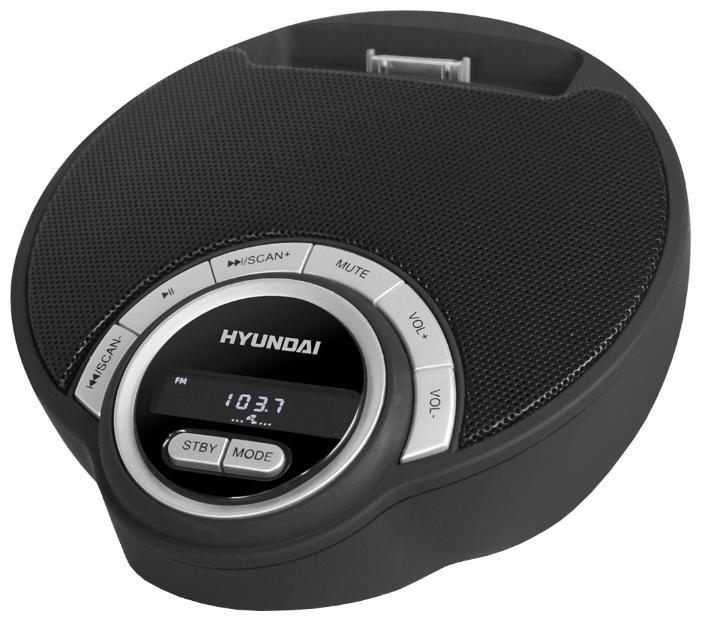 Аудиомагнитола HYUNDAI H-AS1204i,  черный и серебристый