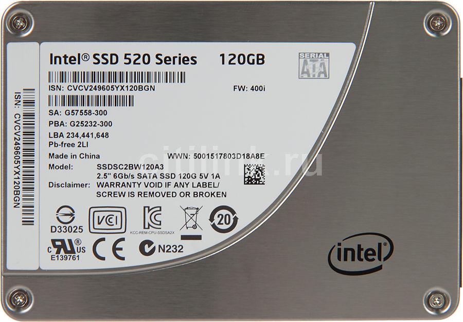 Накопитель SSD INTEL 520 Series SSDSC2BW120A3 921367 120Гб, 2.5
