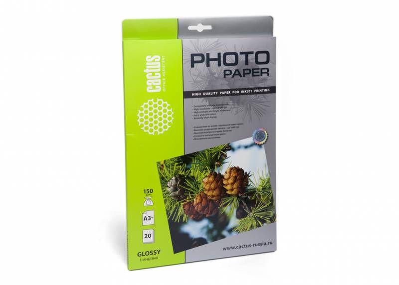 Фотобумага Cactus CS-GA315020 A3+/150г/м2/20л./белый глянцевое для струйной печати