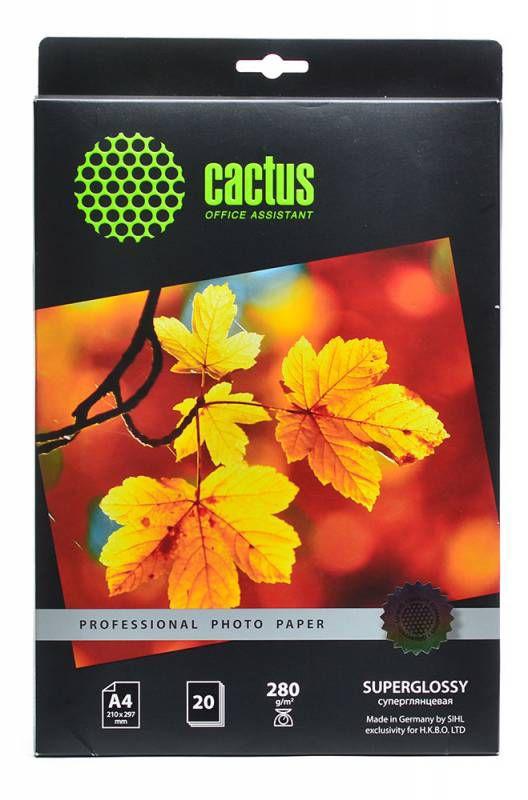 Фотобумага Cactus Prof CS-HGA428020 A4/280г/м2/20л./белый глянцевое для струйной печати