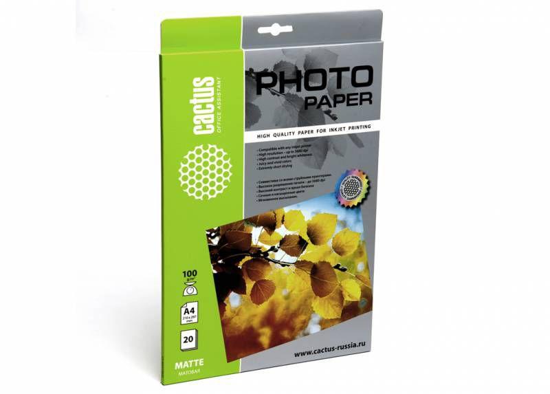 Фотобумага Cactus CS-MA410020 A4/100г/м2/20л./белый матовое для струйной печати