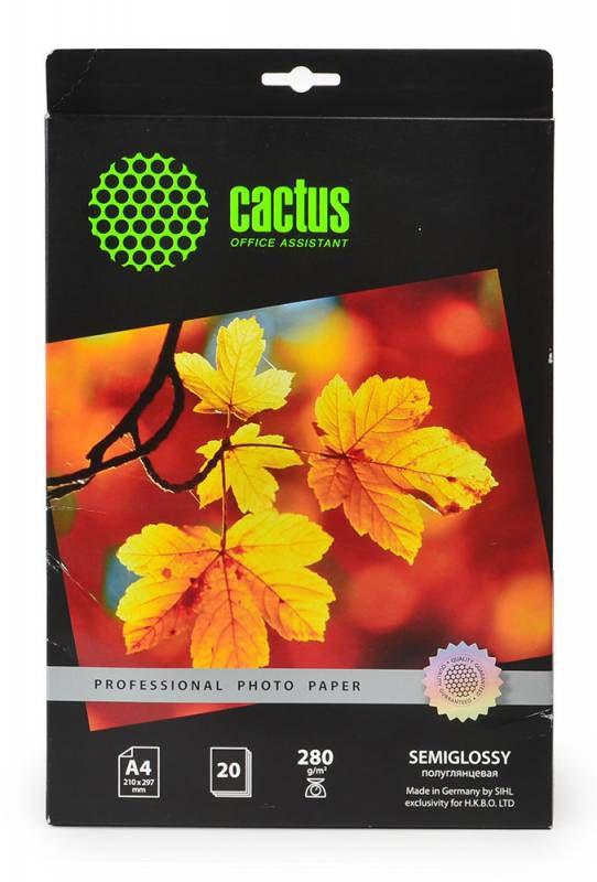 Фотобумага Cactus Prof CS-SGA428020 A4/280г/м2/20л./белый полуглянцевое для струйной печати