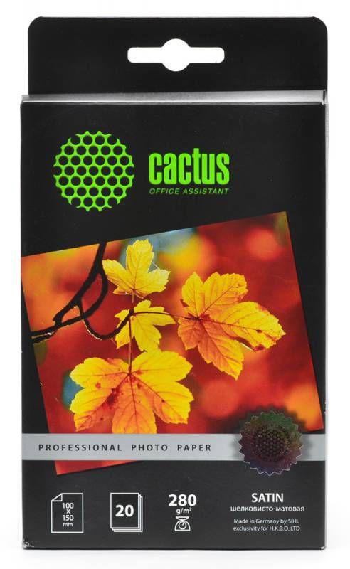 Фотобумага Cactus Prof CS-SMA628020 10x15/280г/м2/20л./белый шелковисто-матовое для струйной печати