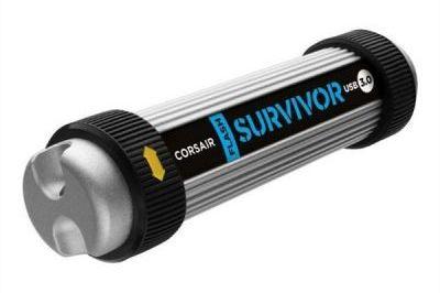 Флешка USB CORSAIR Survivor 128Гб, USB3.0, серебристый и черный [cmfsv3-128gb]