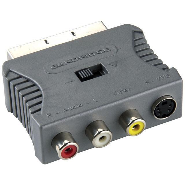 Переходник аудио-видео BANDRIDGE BVP765,  SCART (m)  -  3хRCA (f) ,  серый