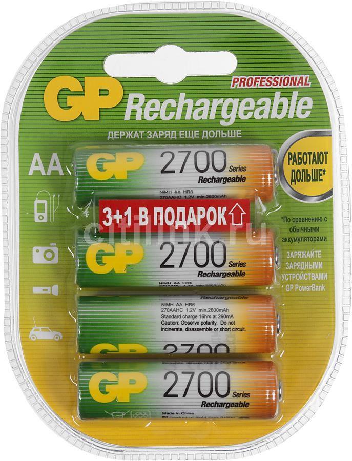 AA Аккумулятор GP 270AAHC3/1,  4 шт. 2700мAч