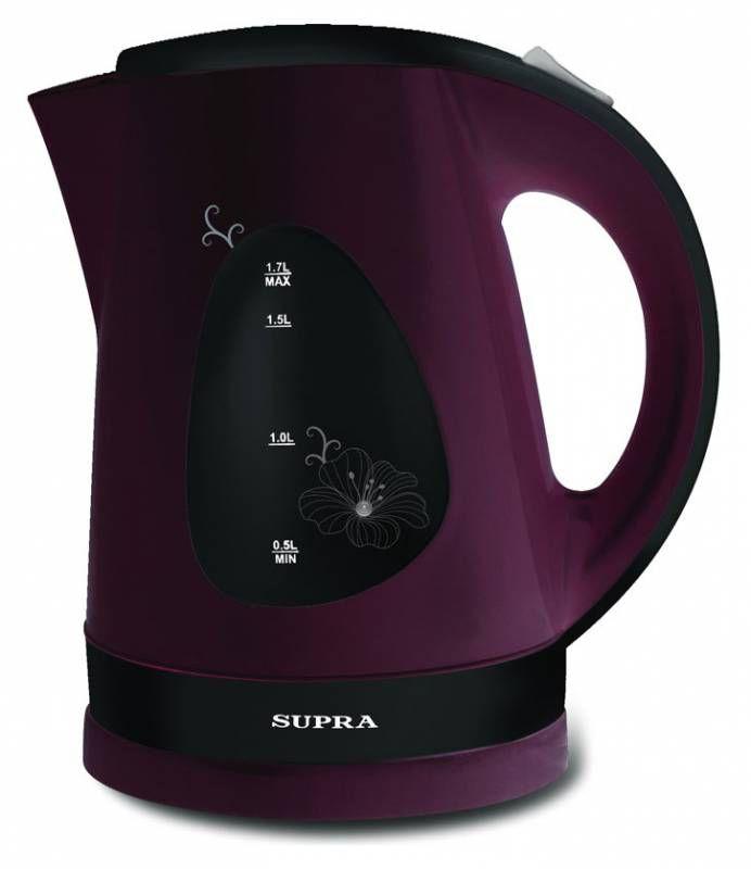 Чайник электрический SUPRA KES-1708, 2200Вт, черный и вишневый