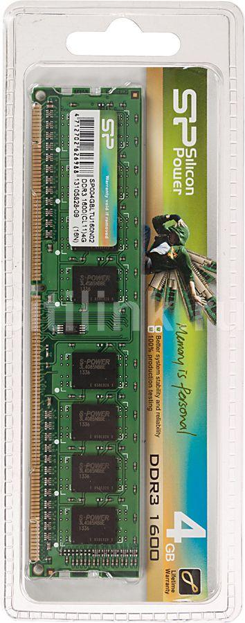 Модуль памяти SILICON POWER SP004GBLTU160N01/2 DDR3 -  4Гб 1600, DIMM,  Ret