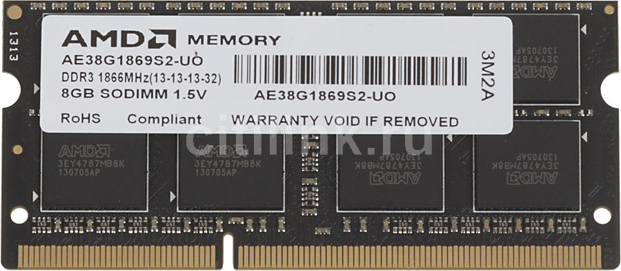 Модуль памяти AMD R738G1869S2S-UO DDR3 -  8Гб 1866, SO-DIMM,  OEM