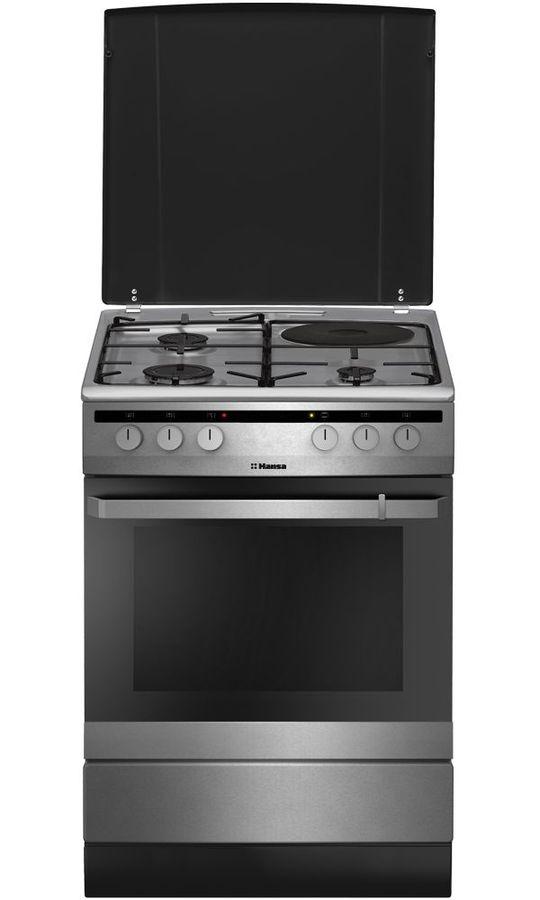Газовая плита HANSA FCMX64040,  электрическая духовка,  нержавеющая сталь