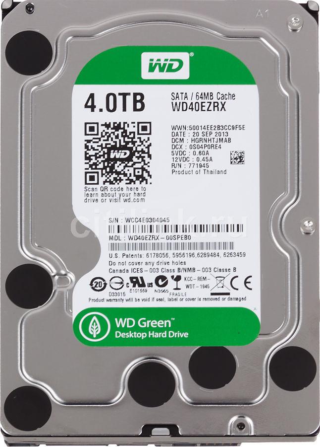 Жесткий диск WD Green WD40EZRX,  4Тб,  HDD,  SATA III,  3.5