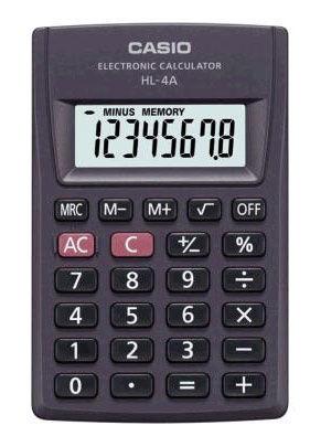 Калькулятор CASIO HL-4A,  8-разрядный, черный