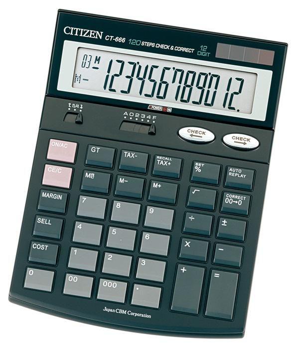 Калькулятор CITIZEN CT-666,  12-разрядный, черный