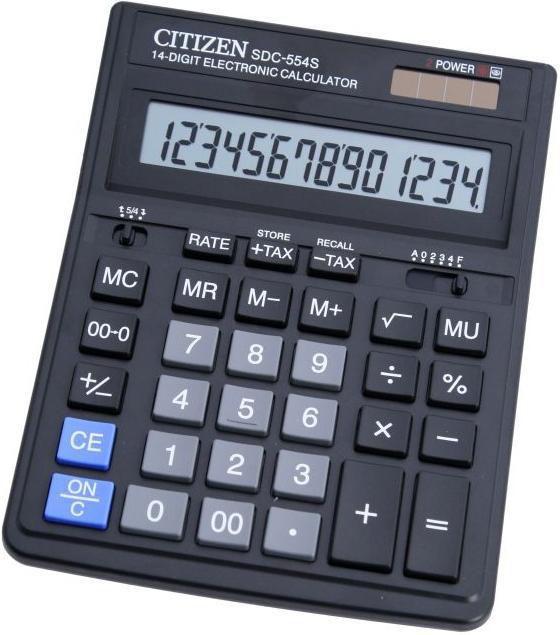 Калькулятор CITIZEN SDC-554S,  14-разрядный, черный