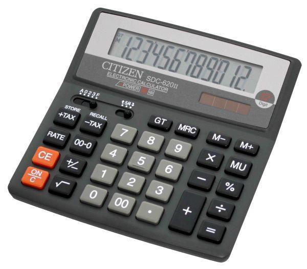 Калькулятор CITIZEN SDC-620II,  12-разрядный, черный