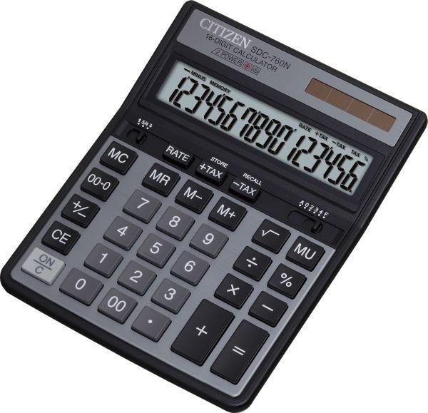 Калькулятор CITIZEN SDC-760N,  16-разрядный, черный