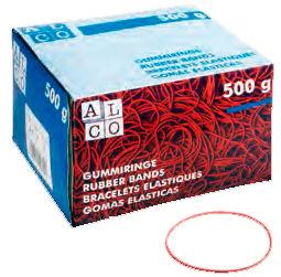 Резинки для купюр Alco диаметр 50 мм 500г красные в картонной упаковке