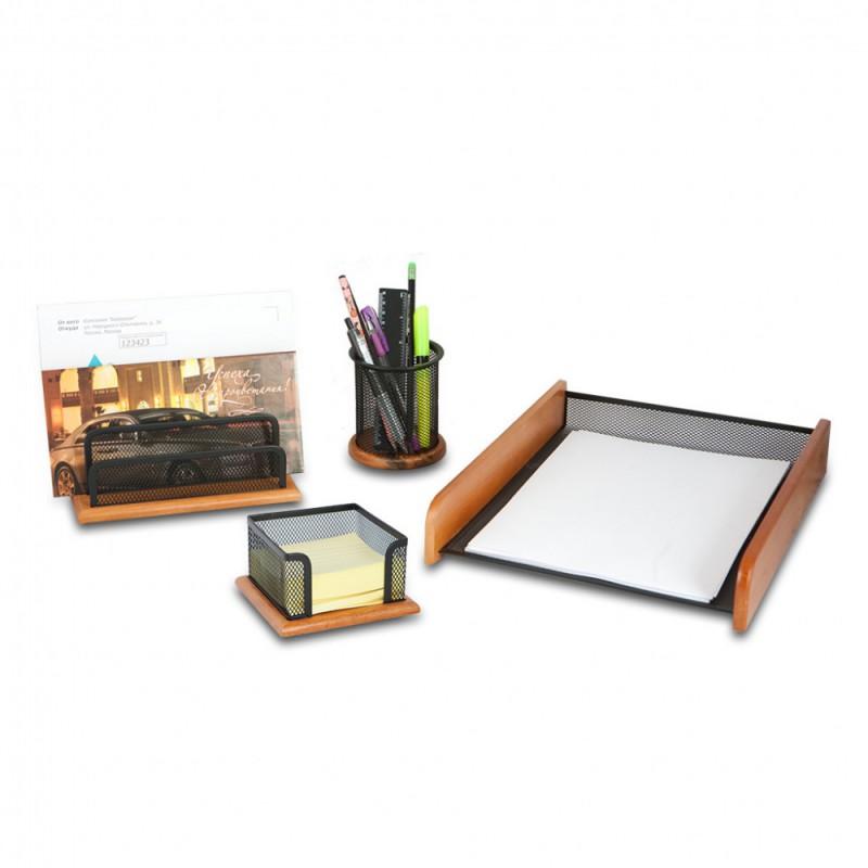 Настольный набор БЮРОКРАТ BLD27Black, Оригинальный, удобный набор для офисной работы. Сделан из металлической сетки - содержимое наглядно и всегда под рукой., металл/дерево, 4 предмета, черный/светло-коричневый