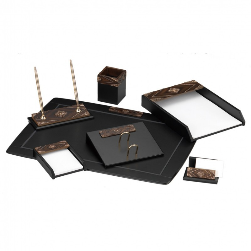 Настольный набор GOOD SUNRISE W6AQ-1/C, МДФ/искусственный камень, 7 предметов, черный/коричневый