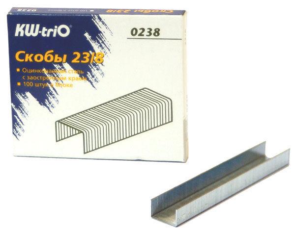Скобы для степлера KW-TRIO 0238,  23/8,  картонная коробка