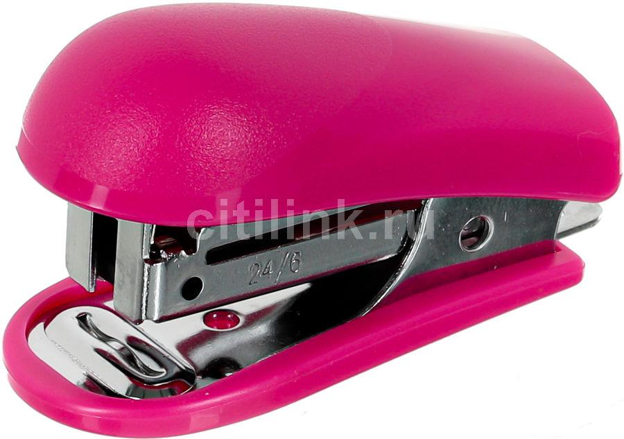 Степлер Kw-Trio 5512PINK Mini 24/6 26/6 (15листов) встроенный антистеплер розовый 50скоб блистер