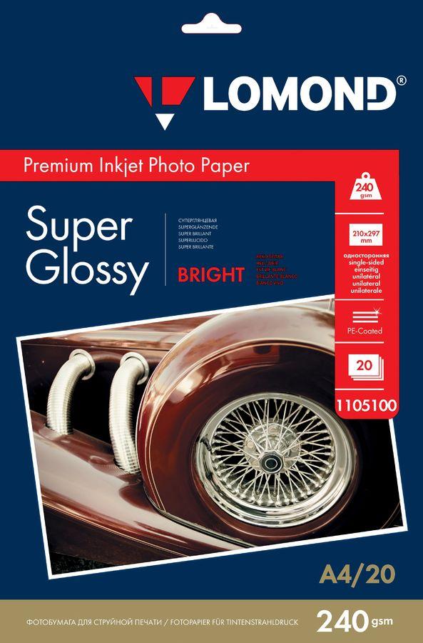 Фотобумага Lomond 1105100 A4/240г/м2/20л./белый высокоглянцевое для струйной печати