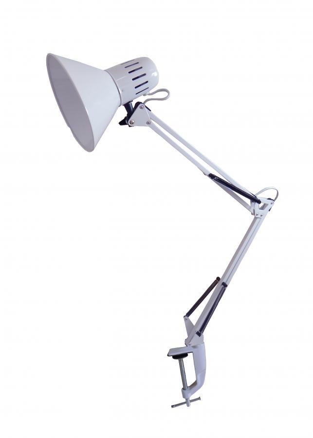 Светильник настольный БЮРОКРАТ BL-080H на струбцине,  белый [bl-080h/white]