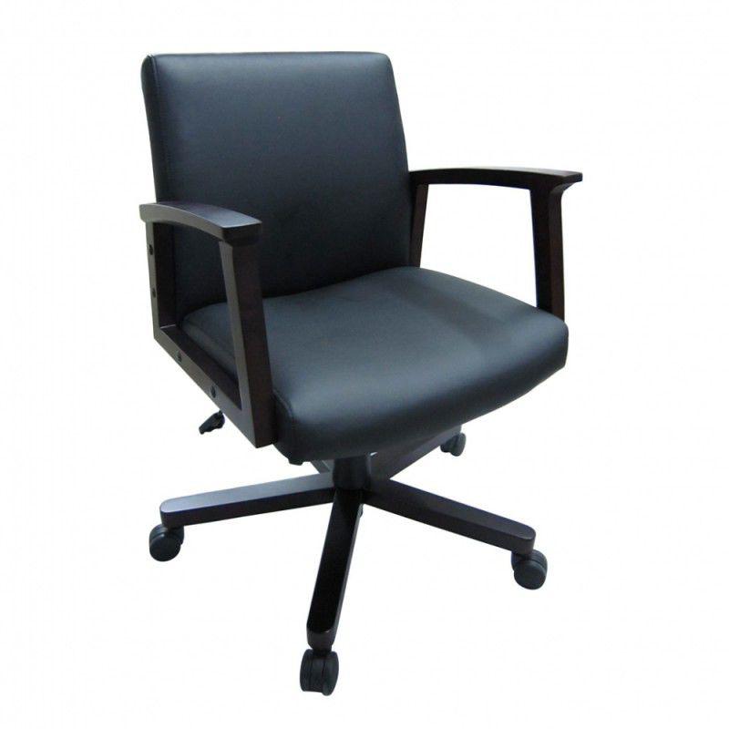 Кресло БЮРОКРАТ CH-995-Low, на колесиках, искусственная кожа, черный [ch-995m-low/black]