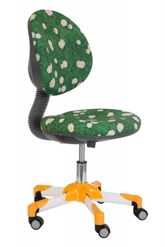 Кресло детское БЮРОКРАТ KD-6, на колесиках, ромашки на зеленом фоне [kd-6/yw/romashki]