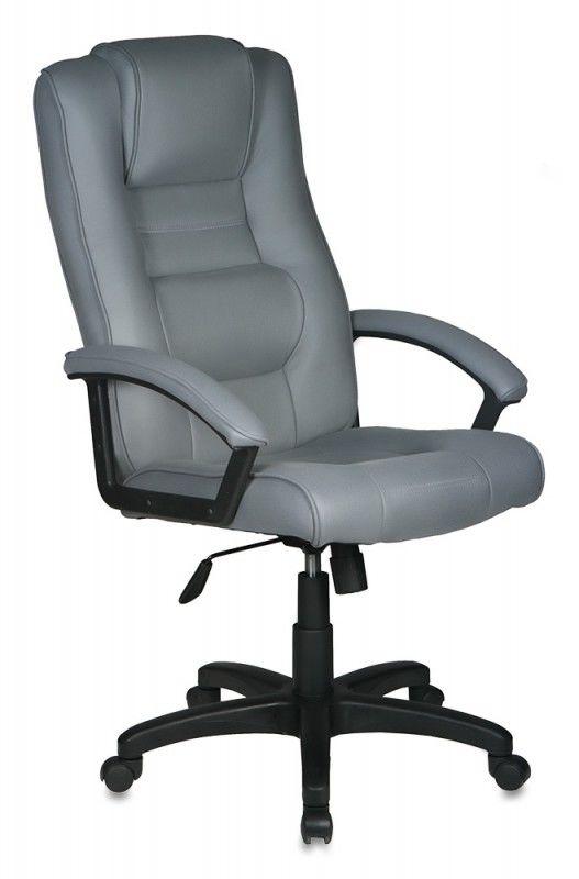Кресло руководителя БЮРОКРАТ T-9906AXSN, на колесиках, искусственный нубук, серый [t-9906axsn/f11]