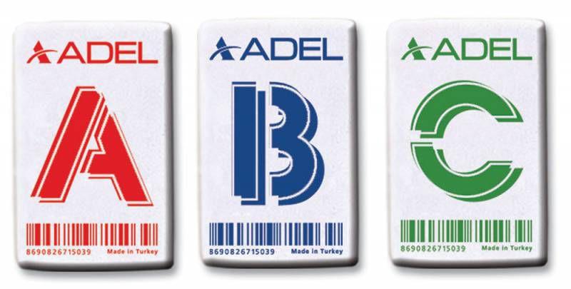 Ластик Adel LETTERS 227-0715-030 45x28x10мм каучук белый