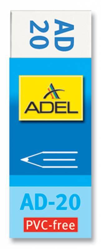 Ластик Adel OFFICE 227-0769-000 60x22x12мм каучук белый индивидуальная картонная упаковка